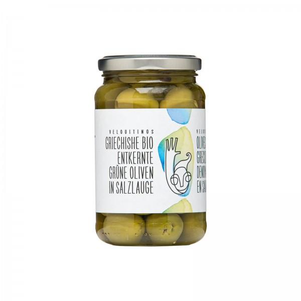 Grüne Bio-Oliven, entsteint in Salzlake (180g Abtropfgewicht)
