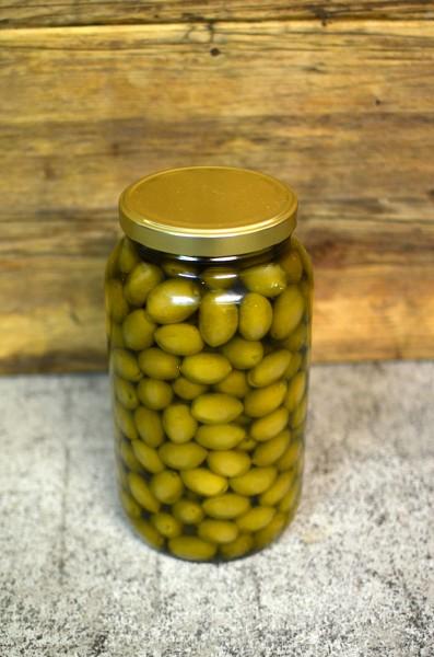 Oliven 'Chalkidiki' - grün - in Olivenöl, nativ extra, Rohkostqualität